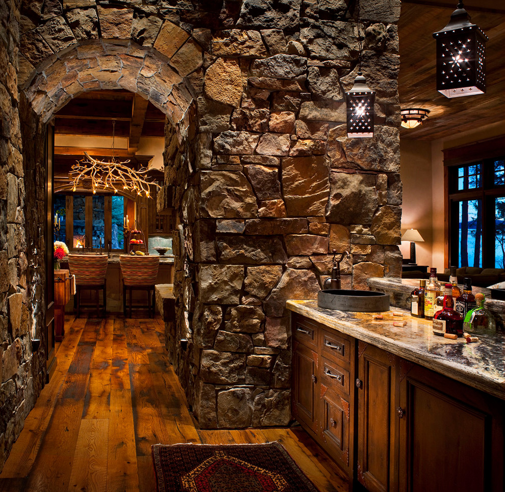 Branch Chandelier Home Bar Rustic with Archway Bar Cabin Cabinets Counter Fireplace Hardwood1