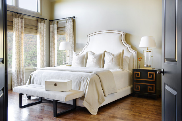 Brass Headboard Bedroom Traditional With Bamboo Blinds Bedroom Bench Brass  Clerestory Drapes Greek Key