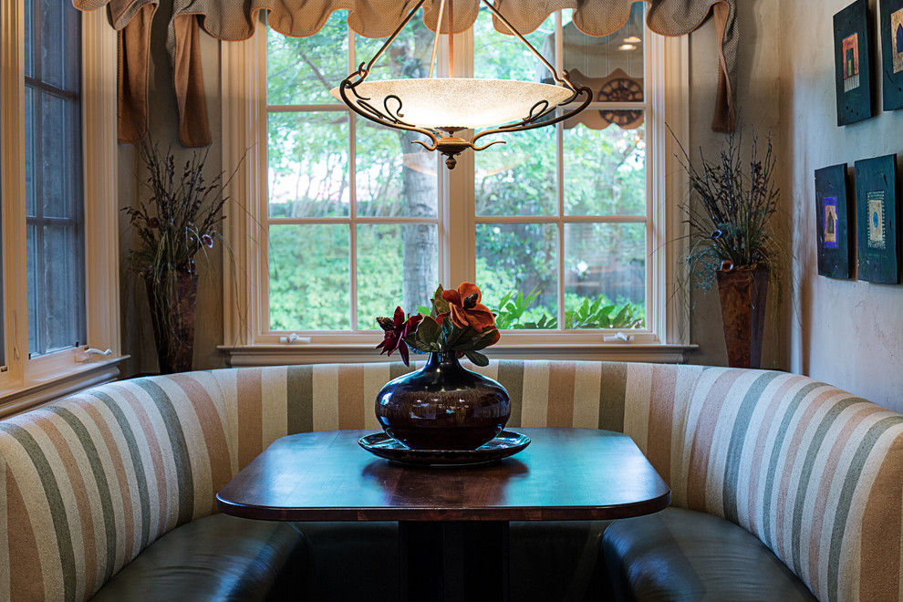 Breakfast Nooks Dining Room Traditional with Artwork Banquette Seating Beige Bench Seat Breakfast