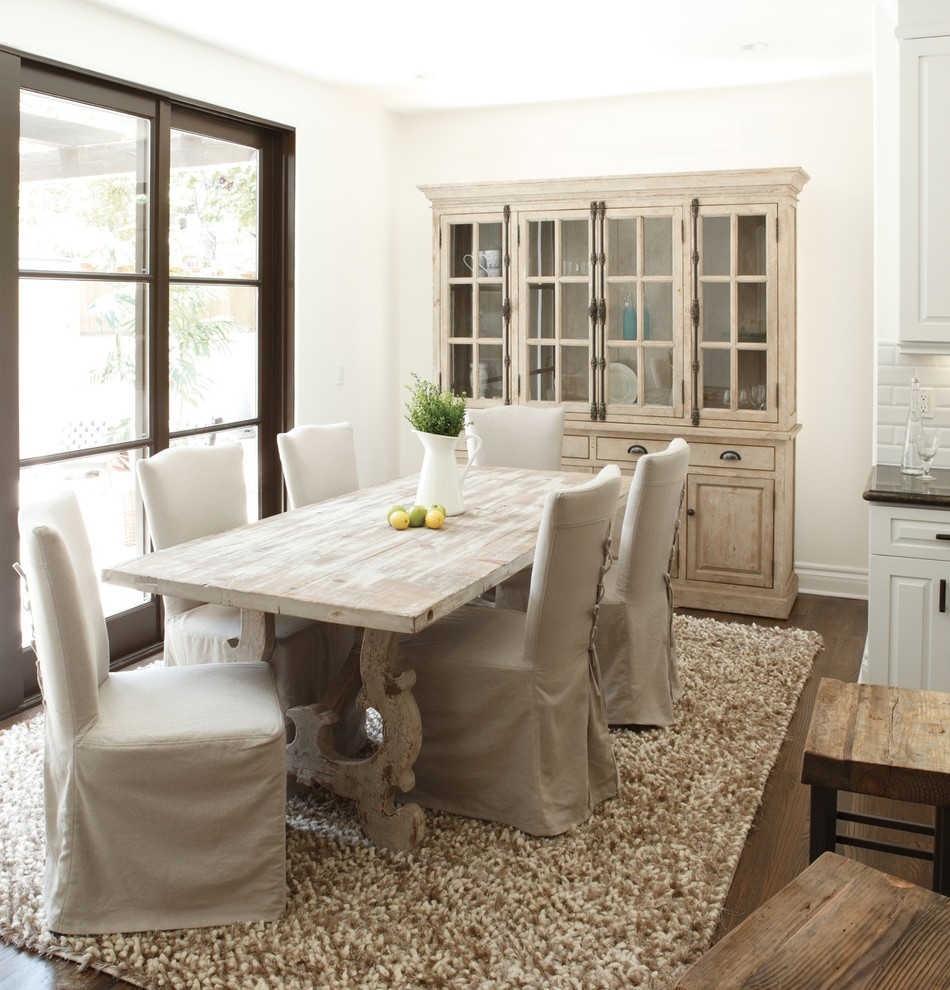 Breakfront Dining Room Traditional with Antiqued White Area Rug Barn Country Dining