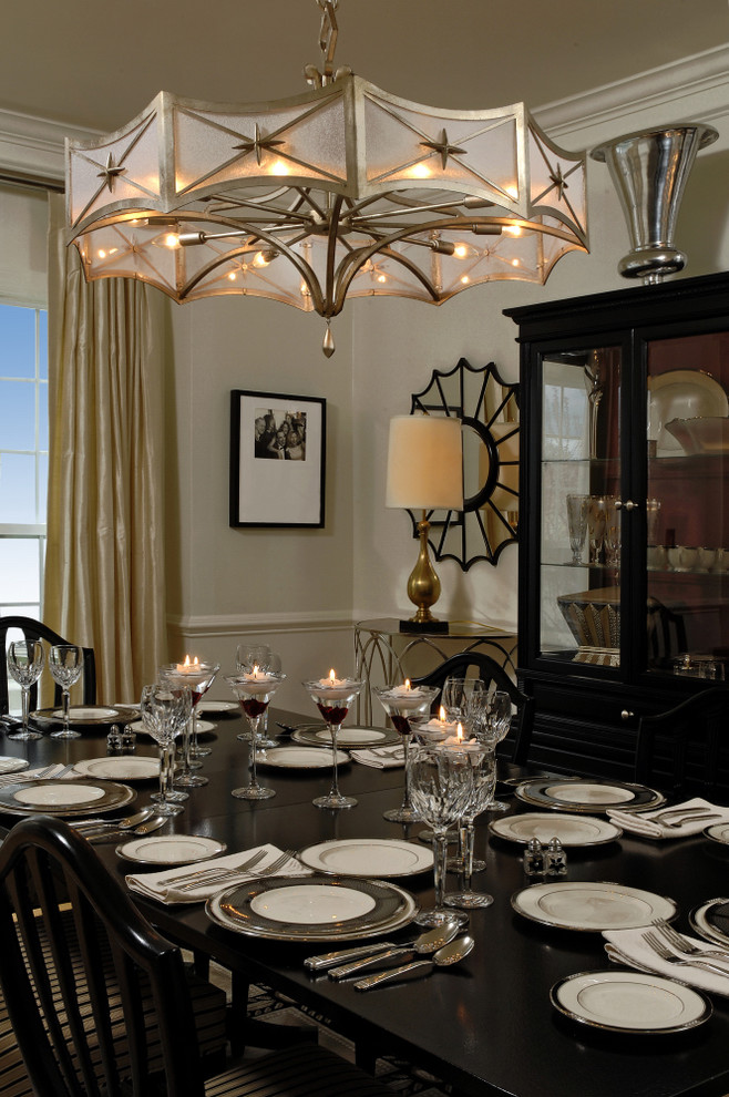 Breakfront Dining Room Traditional with Chair Rail Chandelier Crown Molding Curtains Dining
