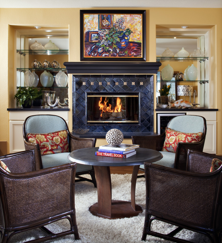 Breakfront Living Room Traditional with Armchair Art Art Deco Fireplace Fireplace Glass