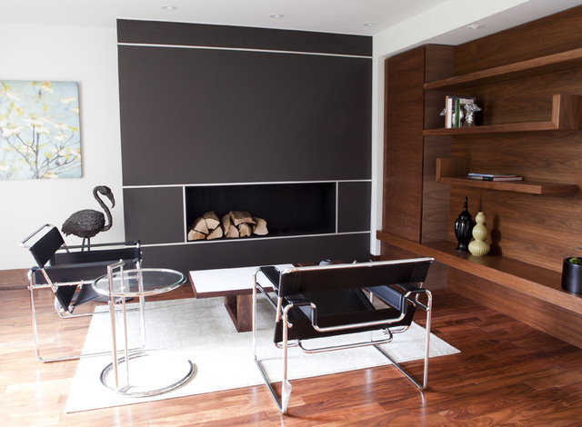 Breuer Chair Living Room Contemporary with Area Rug Bookshelves Built in Shelves Ceiling Lighting Glass