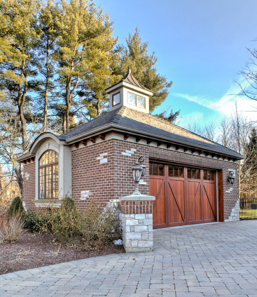 Brick Mailbox Garage and Shed Traditional with Arch Window Brick Driveway Brick Exterior Brick
