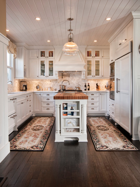 Brick Veneer Panels Kitchen Traditional with Butcher Block Counter Ceiling Flush Cabinets Crown Molding Cup