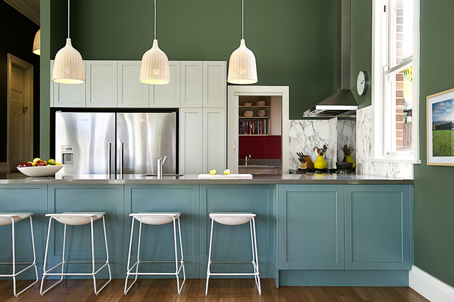 Broom Cabinet Kitchen Transitional with Blue Cabinets Colour Dark Green Walls Green and Blue