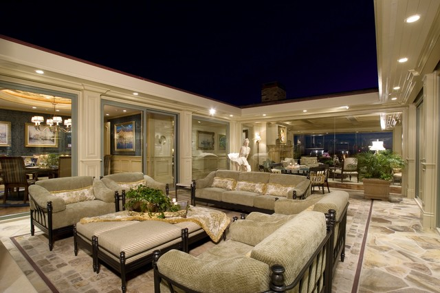 Broyhill Sofa Patio Traditional with Flagstone Floor Mirror Ottomans Recessed Lights Seating Area Terrace
