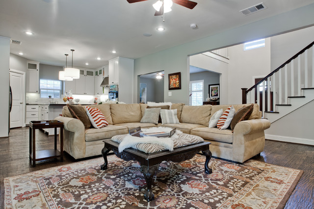 broyhill sofas Family Room Transitional with area rug ceiling lighting coffee table contemporary decorative pillows