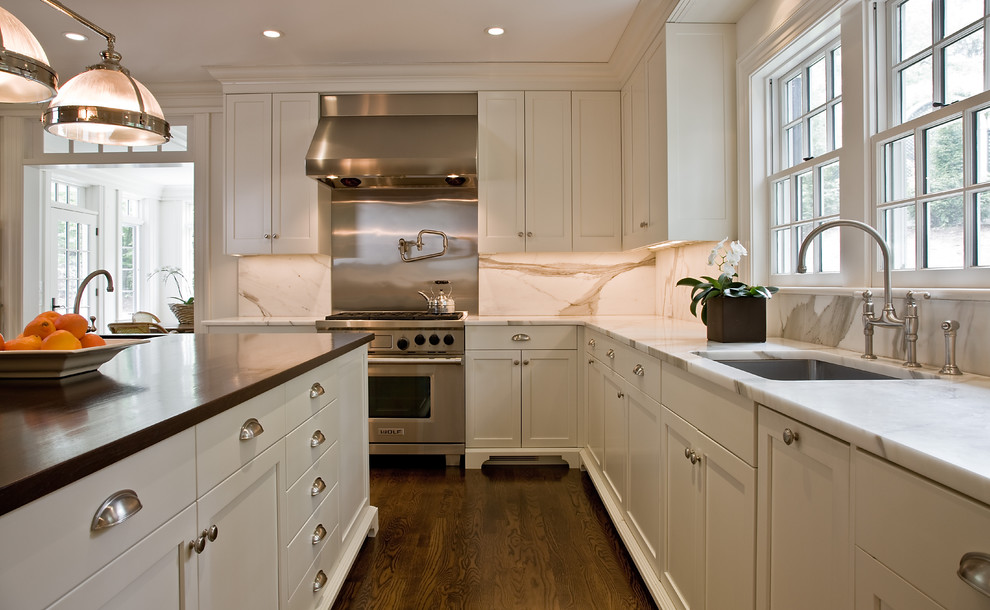 Brushed Nickel Door Knobs Kitchen Traditional with Ceiling Lighting Crown Molding Double Hung Windows