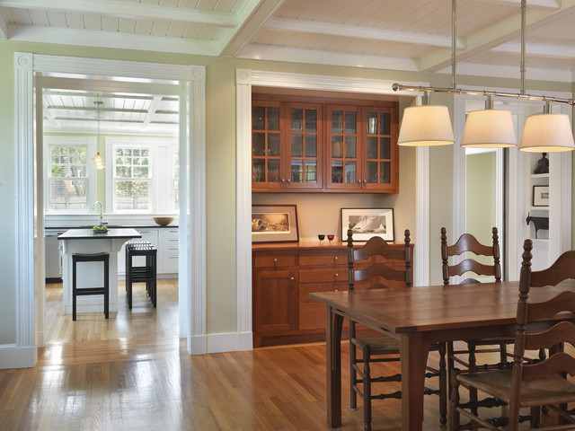 Buffet With Hutch Dining Room Traditional Beadboard Built In Cabinets Ceiling Light Chair Coffered