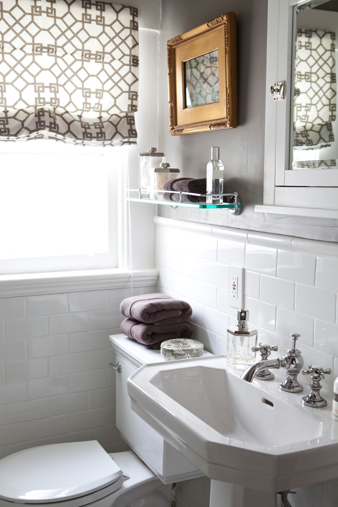 Bullnose Tile Bathroom Traditional with Beige Patterned Roman Shade Glass Shelf Glass