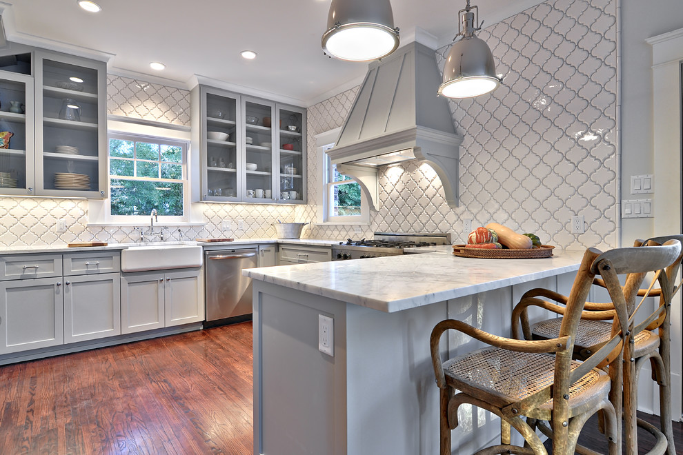 bullnose tile Kitchen Traditional with Arabesque Tile Carrara marble counter stools Custom