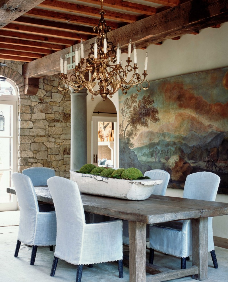 Bunching Tables Dining Room Rustic with Arched Door Arched Doorway Art Chandelier Column