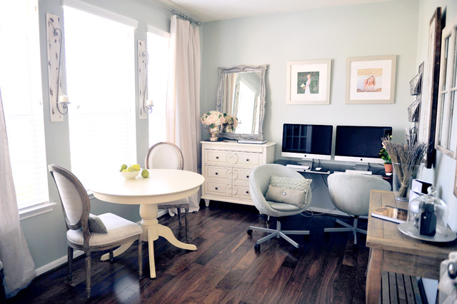 Bungee Office Chair Home Office Eclectic with Artwork Baseboards Chest of Drawers Dresser Neutral Colors Pedestal