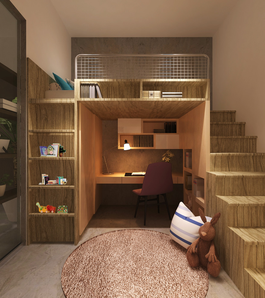 Bunk Bed With Desk Underneath Kids Contemporary With Bed With Desk  Underneath Books Brown Bunny