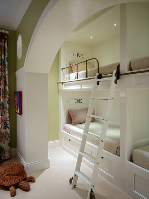 Bunk Beds for Toddlers Kids Traditional with Arch Archway Beadboard Bedroom Built in Drawers Bunk Bed Ladder