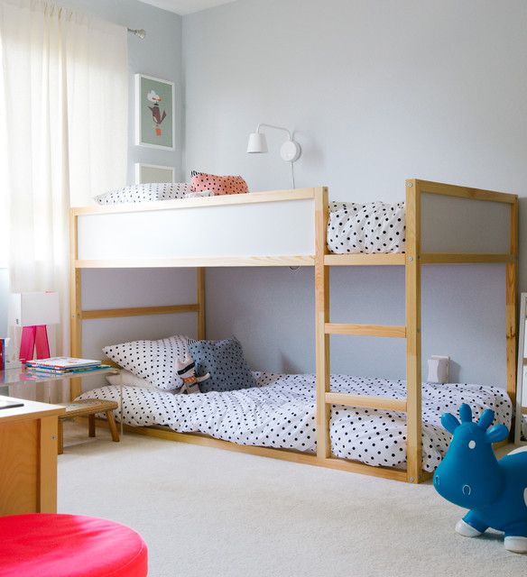 bunk beds for toddlers Kids Transitional with beige carpet bouncy toy cow bunk bed loft bed