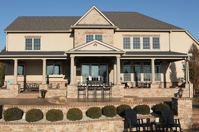 Burglar Bars Exterior Traditional with Adirondack Chairs Beige Brick Counter Stools Covered Porch Garden