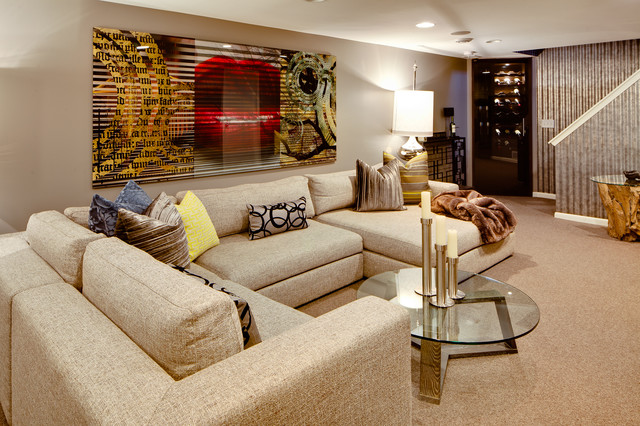 Burgundy Throw Pillows  Family Room Eclectic With Beige Carpet Beige Sectional Beige Sofa  Beige Wall Brown