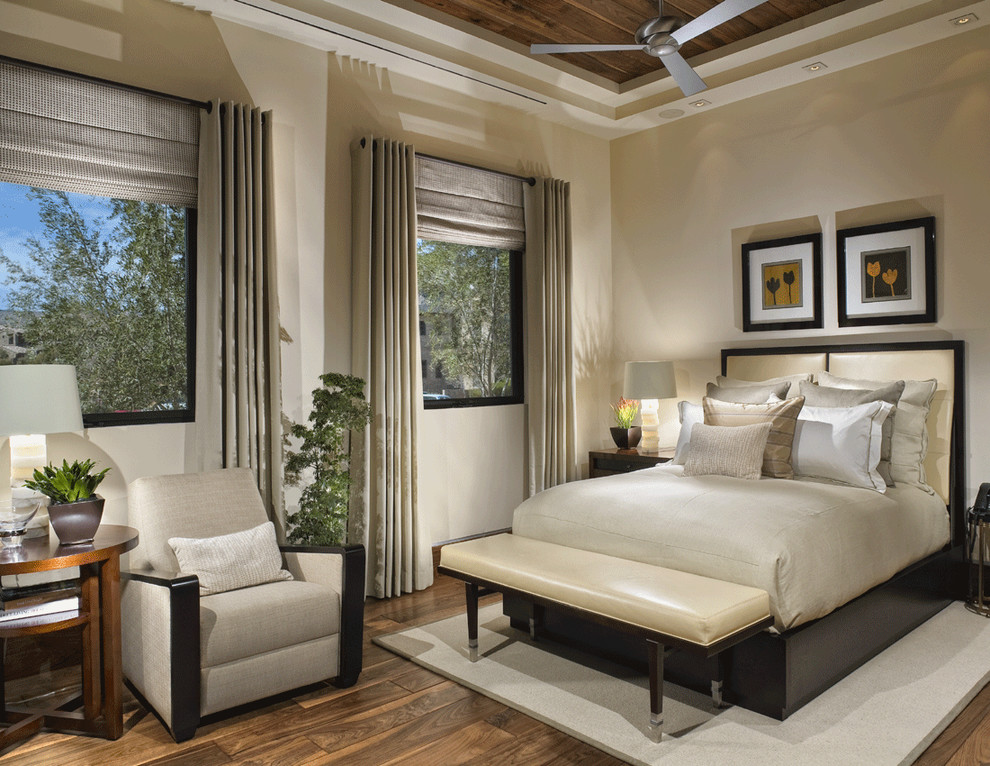 Burlap Window Treatments Bedroom Contemporary with Accent Ceiling Bed Pillows Bedside Table Cream