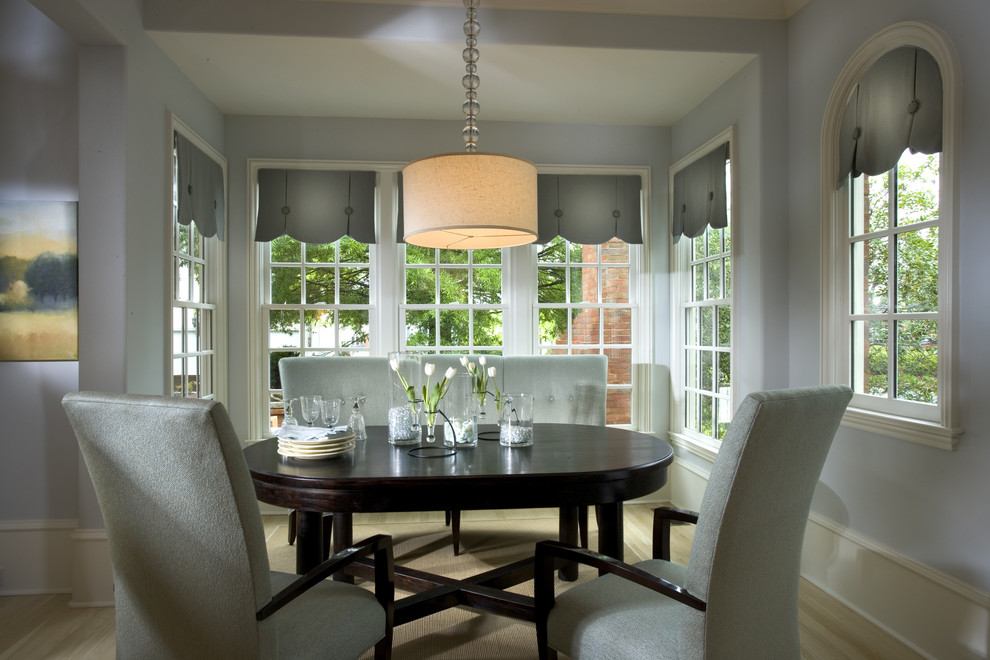 Burlap Window Treatments Dining Room Traditional with Capped Baseboard Dining Nook Drum Shade Pendant