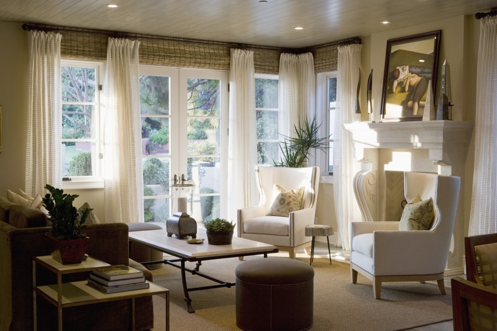 Burlap Window Treatments Living Room Traditional with Armchair Coffee Table Fireplace Ottoman Rug Side
