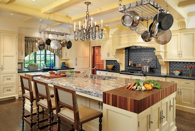Butcher Block Table Tops Kitchen Traditional with Beige Cabinets Beige Drawers Beige Kitchen Island Black Countertop