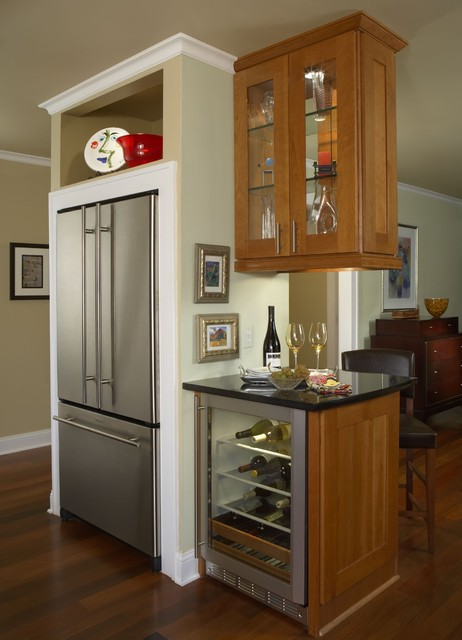 Cabinet Depth Refrigerator Kitchen Contemporary with Baker Furniture Cherry Counter Family Room Granite Kitchen Renovation
