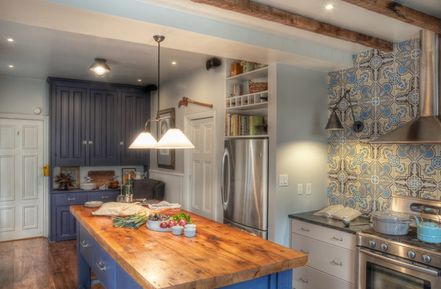 Cabinet Depth Refrigerator Kitchen Traditional with Accent Tiles Blue Cabinets Butcher Block Countertops Ceiling Lighting