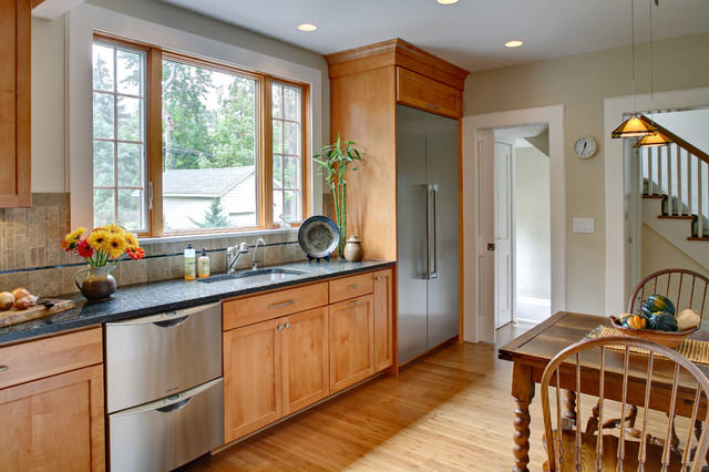 Cabinet Discounters Kitchen Traditional with Bamboo Floor Built in Fridge Double Drawer Dishwasher Eat