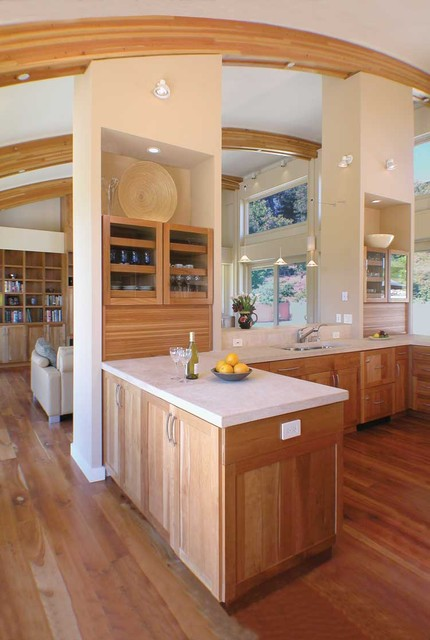 cabinet resurfacing Kitchen Contemporary with exposed beams glass front cabinets great room kitchen hardware