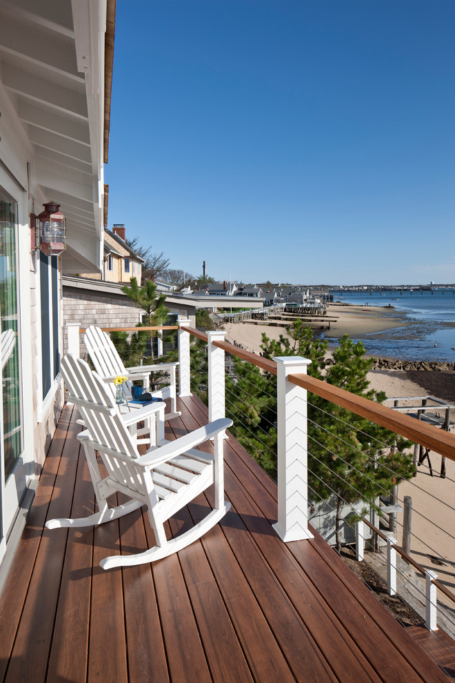 cable railing kit Deck Beach with Adirondack chairs balcony cable railing coastal deck