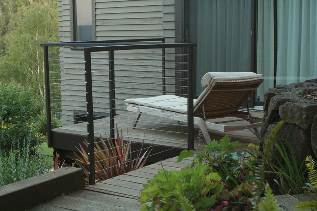 cable railing systems Patio Modern with balcony black metal railing cable railing landscaping lounge chair