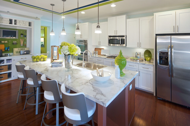 caesarstone cost Kitchen Contemporary with counter stools dark stained wood floor kitchen island lime