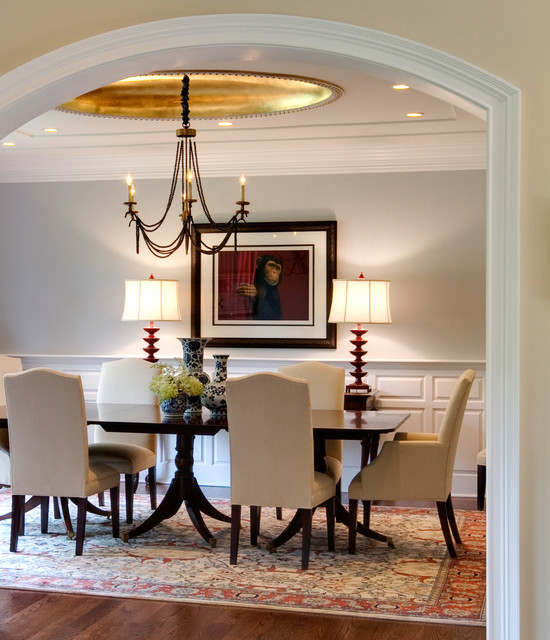 Cake Plate with Dome Dining Room Contemporary with Area Rug Artwork Chandelier Dining Table Gold Leaf Gray