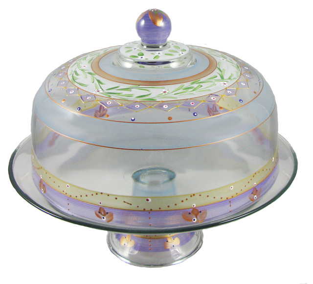 Cake Stand with Dome with Cake Dome Cake Pedestal Hand Painted Hand Painted Cake