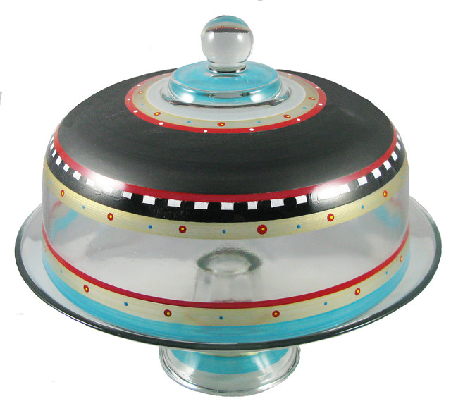 Cake Stand with Dome with Cake Dome Hand Painted Hand Painted Cake Dome