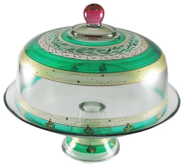 Cake Stand with Dome with Cake Dome Hand Painted Hand Painted Cake Dome 1