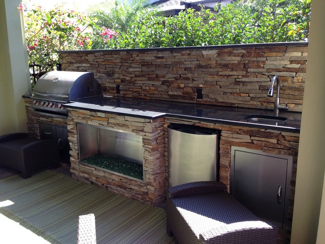 Cal Flame Patio Contemporary with Backsplash Cal Flame Cal Flame Grill Cedar Cultured Stone