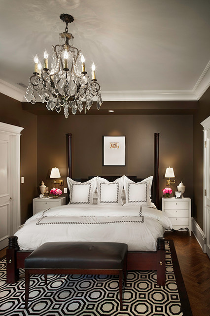 cal king bedroom sets Bedroom Traditional with bedside table chandelier chocolate brown walls crown molding crystal