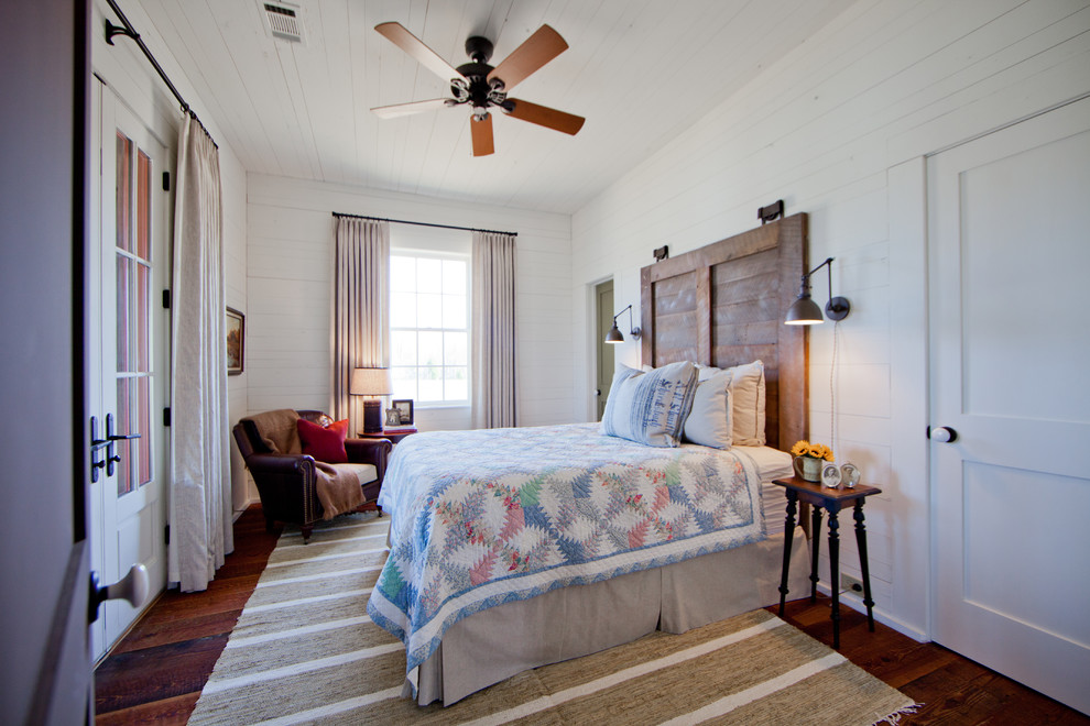 Cal King Headboard Bedroom Farmhouse with Ceiling Fan Chesterfield Chair Contemporary Design French