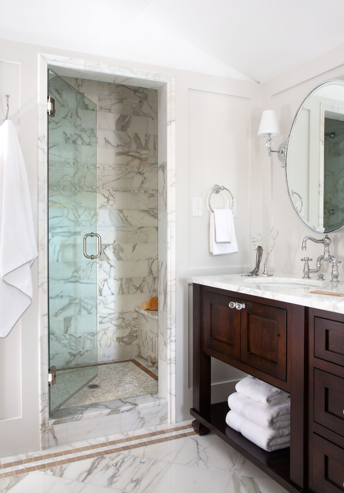 Calacatta Gold Marble Bathroom Traditional with Dark Stained Wood Frame and Panel Walls