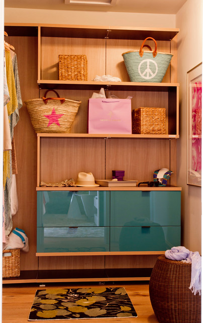 california closets nyc Closet Contemporary with beach bags edge pulls glossy finish open shelves storage