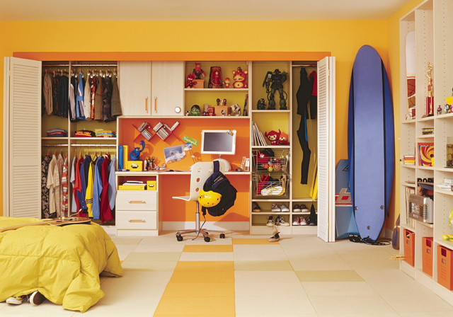 California Closets Nyc Kids Traditional with Beige Floor Blue Surfboard Built in Bookcase Built in Bookshelf Carpet