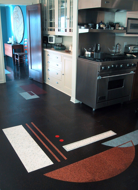 Calphalon Simply Nonstick Kitchen Modern with Cork Cork Floor Cork Flooring Cork Floors Cork Inlay4