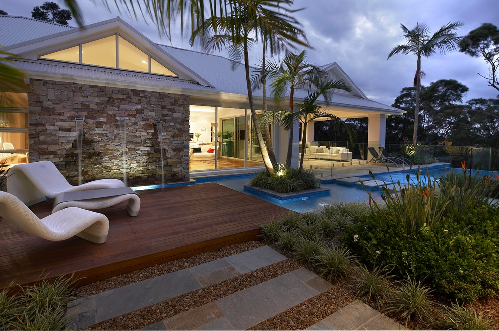 Cambridge Paving Stones Pool Contemporary with Concrete Pavers Covered Patio Elevated Wood Deck
