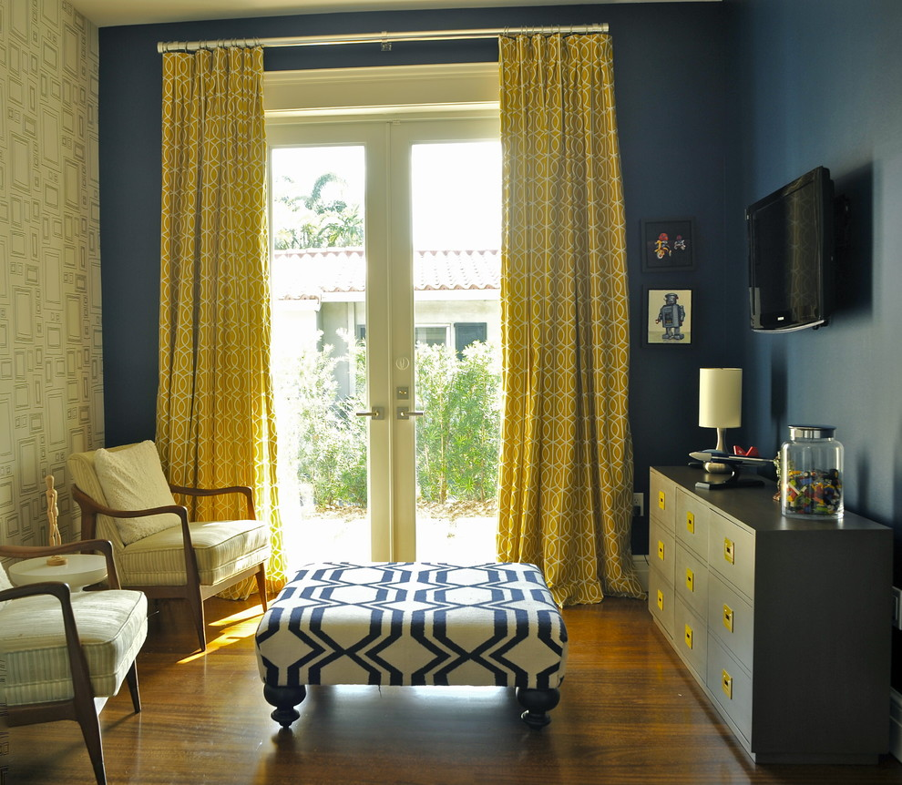 Blue Bedroom With Yellow Accent Wall | www.resnooze.com