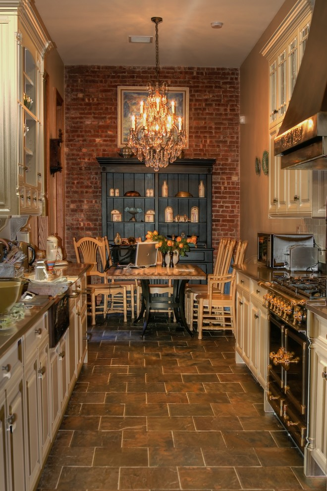 Canadel Furniture Kitchen Traditional with Brick Wall Chandelier Copper Range Hood Copper