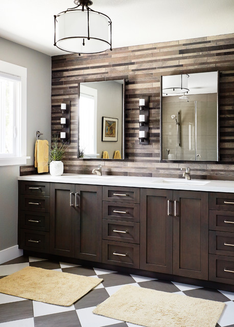 candle wall sconce Bathroom Transitional with accent wall black and white checkered floor BLACK AND