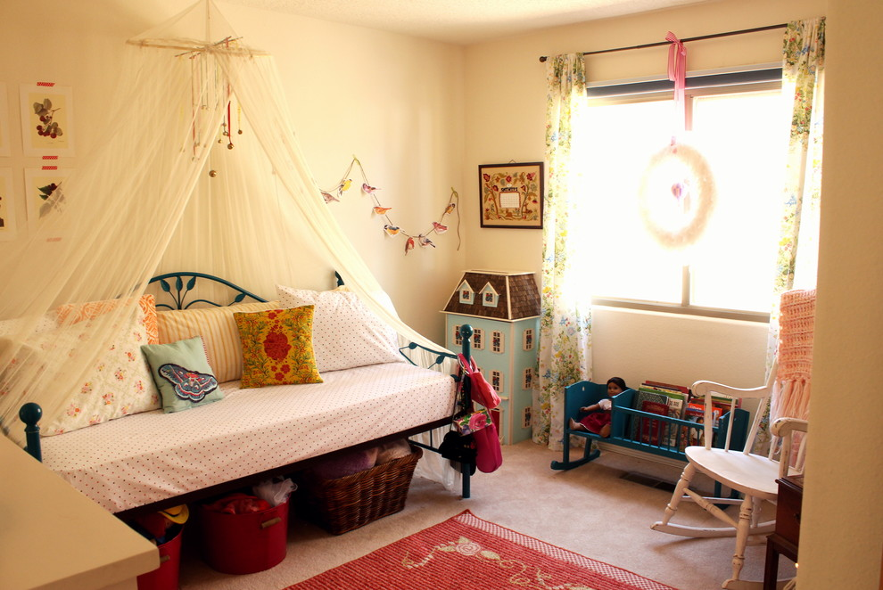 Canopy Daybed Kids Eclectic with Area Rug Baskets Bedding Bedroom Canopy Carpet